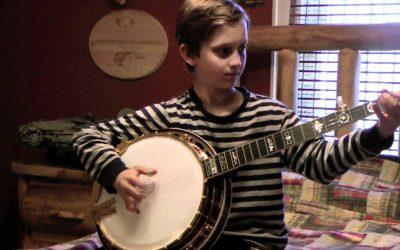 nine year old banjo whiz kid playing bluegrass